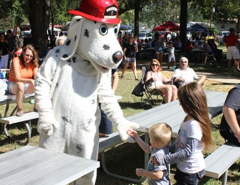 Firefighter event with Dalmation mascot